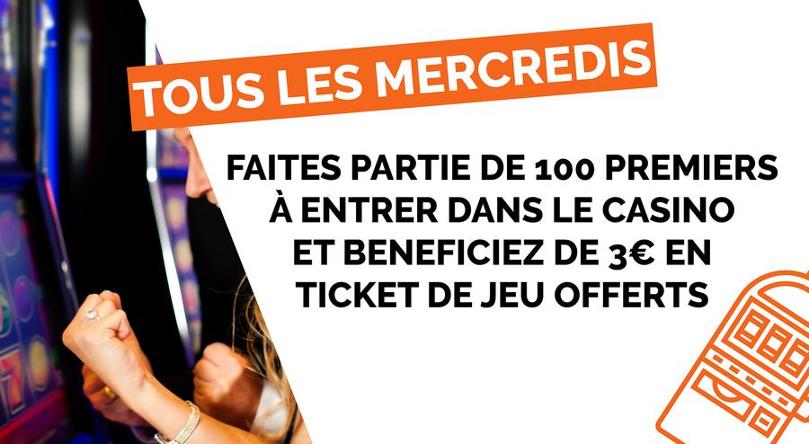 3€ EN TICKET DE JEU OFFERTS AUX 100 PREMIERS